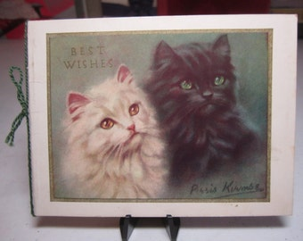 Adorable 1930's-40's Raphael Tuck christmas card with a black and a white long haired kittens looking up together signed by an artist