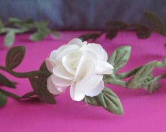 Newborn delicate crown of silk leaves and petite white flowers