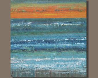 FREE SHIP large abstract painting, ocean painting, canvas art, landscape painting, turquoise blue and orange, sunset, seascape, original art