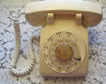 1970s Rotary Phone Works Ash Almond Desk Telephone