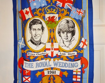 Vintage Lady Diana Prince Charles Wedding 1981 Cotton Tea Towel Decorative