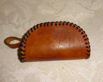 Vintage Leather Coin Purse Tooled Leather Laced Loop Handle