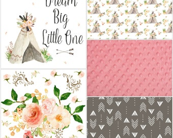 Baby Girl Crib Bedding - Dream Big Tee Pee, Western Flowers, Stone Weathervanes, and Coral Crib Bedding Ensemble