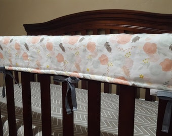 Baby Crib Long Rail Guard Cover - Blush Flowers and White Gold Arrow