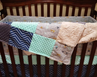 Baby Boy Crib Bedding - Wooden Arrow, Navy Chevron, Mint Minky, and Ivory Crushed Minky Crib Baby Bedding Ensemble