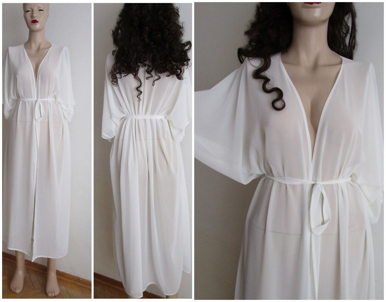 Sheer off white handmade kimono cardigan cover up Long