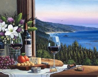 Wine Sunset Oil Painting