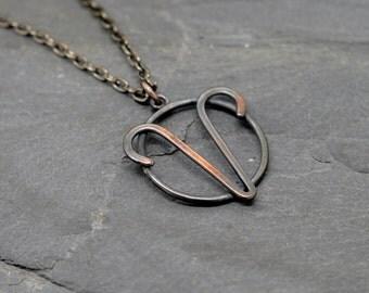 Aries zodiac necklace oxidised copper