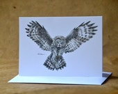 Great Gray Owl - Greeting Card - Woodland Animal Card - Eco-Friendly - With Envelope