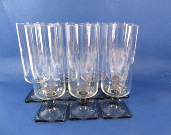 Vintage Federal Nordic Gray Square Stemmed Wine Glasses - Set of 7 Mid Century Square Stemmed Wine Glasses