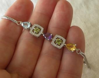 "Peridot Bracelet Handmade Natural Topaz Semiprecious Gemstone Bracelet Adjustable 6-7"" Sterling Silver Bracelet Take 20% Off Peridot Jewelry"