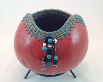 Dyed gourd with natural beads and pine needles