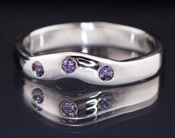 Chatham Alexandrite Fitted Contoured Wedding Band in Palladium, Platinum, White Gold, Rose Gold or Yellow Gold, Shadow Wedding Ring