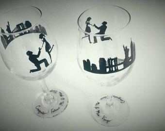 Hand painted,wedding, wine glass, proposal, engagement, set of 2, new york city, skyline, personalized, custom wedding theme,