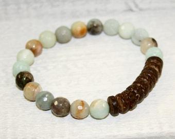 Amazonite boho bracelet,  Aqua bracelet, Gemstone Bracelet, Stacking bracelet