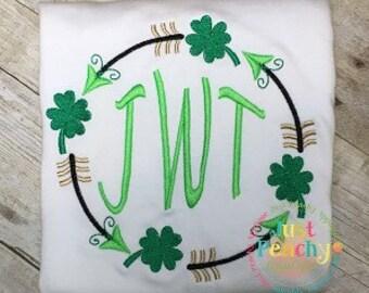 Clover Arrow Monogram Circle Machine Embroidery Applique Design