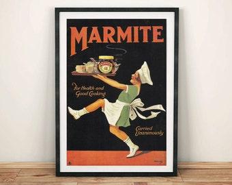 MARMITE GIRL POSTER: Vintage Breakfast Advert, Black & Red Art Print Wall Hanging