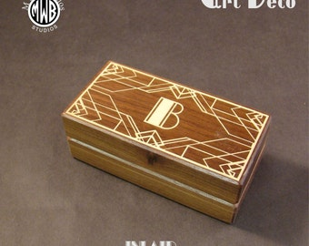 Double Wedding Ring Box in the Art Deco Style.  Free Engraving and Shipping.  DRB-2