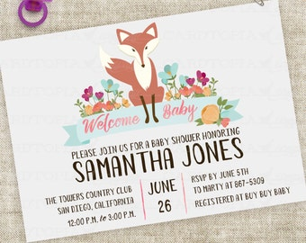 Fox Baby Shower Invitation with Pink Floral Banner Watercolor Lettering Custom Digital Professional Printing Option - Cardtopia