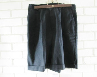 Vtg HI-WAIST black cotton shorts size 31'' waist