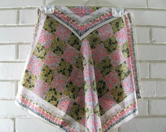 Vintage green gray and peach floral Echo silk square scarf