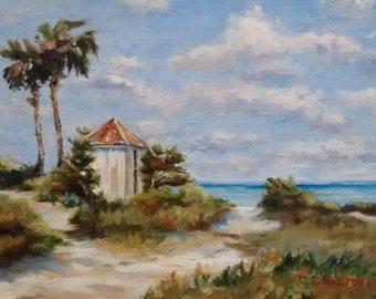 Beach Scene at Sanibel, Oil Painting on Stretched Canvas,  Original Oil Painting, Coastal Decor, Beach Art, Sanibel Isle