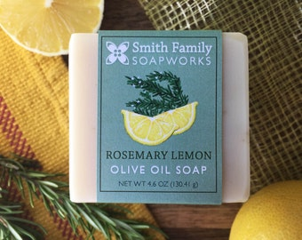 Rosemary Lemon Soap - Natural Soap, Handmade Soap, Olive Oil Soap Bar, Cold Process Soap