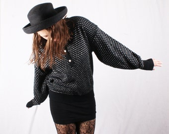 80s Vintage Silver & Black Oversized Metallic Sweater / Size XL