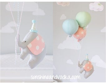 Pastel Baby Mobile, Elephant and Balloon Nursery Decor, Gender Neutral, Circus or Travel Theme, Blue, Mint and Pink, i196