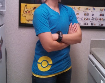 Pkmn V-Neck T-Shirt - Kalos Trainer Customization Shirt for Cosplay