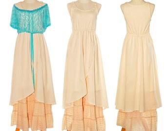 Romantic Bohemian Maxi Dress Empire Waist Cream beige blue Stretch cotton Hippie Sleeveless Long Maxi Festival Dress Shabby Size M to XL