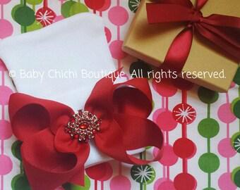 Newborn Girl Hat - Red Rhinestone Bow (newborn hospital hat, baby girl hat, newborn beanie, hat with bow, baby hat)