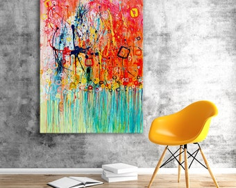 Abstract Painting on Canvas - Large Abstract Jellyfish Painting on Canvas - Acrylic Abstract Wall Art in Turquoise, Orange, Yellow, & White