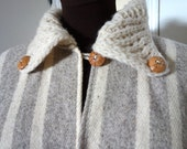 70s Striped Wool Fringed Vintage Blanket Poncho Cloak Cape with Wool Knitted Collar Wooden Buttons