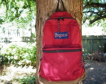 Classic Old School Jansport Dark Red Bookbag Backpack 1980s 1990s Leather Suede Bottom