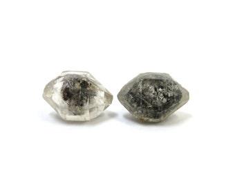 Tibetan Quartz Herkimer Diamond DIY Kit Crystal Earrings 2 Crystals 16mm x 11mm & 2 Earring Blanks 6mm (Lot EK23) Raw Crystal Earring Kit