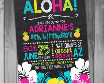 Luau Birthday Invitation Hawaiian Birthday Luau Party Printable Birthday Girl Birthday Swim Party Chalkboard Birthday Printable Luau
