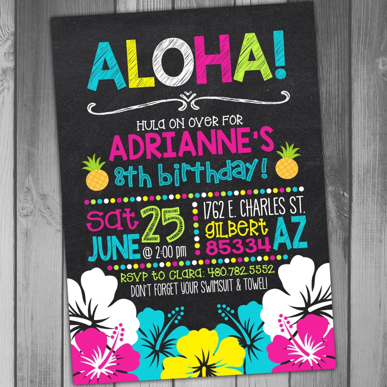 Luau Birthday Invitation Hawaiian Birthday Luau Party