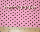 FREE SHIPPING Cotton Flannel Fabric by the yard Pink Brown Polkadot