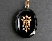 Victorian Onyx Locket with Seed Pearls. 14k Gold.