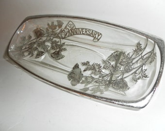 Vintage Silver Overlay Tray - 25th Anniversary