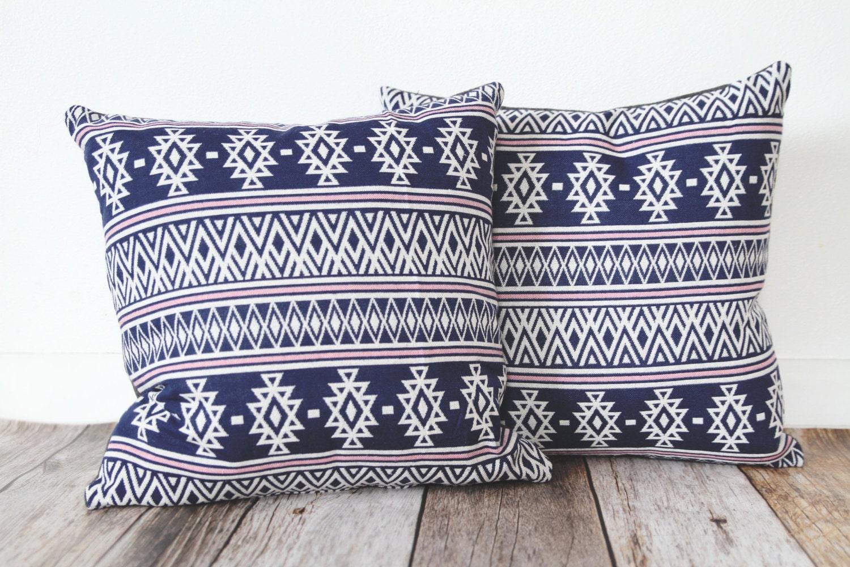 Modern Aztec Pillows : Aztec Print Pillow, Navy and Pink Pillow, Modern Pillow, Throw Pillow, Home Decor