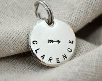Small Two Sided Pet Tag - Small dog or cat - Stamped Stainless
