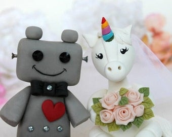 Robot and Unicorn wedding cake topper, fantasy cake topper, personalized unique wedding