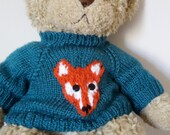 Teddy Bear Sweater Jumper  Hand knitted   Blue with Fox motif  fits Build a Bear