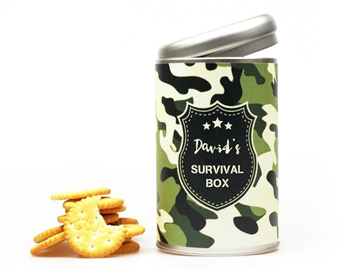"""SURVIVAL BOX """"Your Name"""" Gift Tin personalized"""