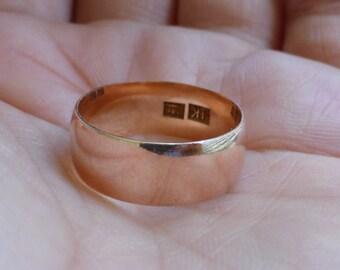 Antique 14k Rose gold wide wedding band smooth 7.5