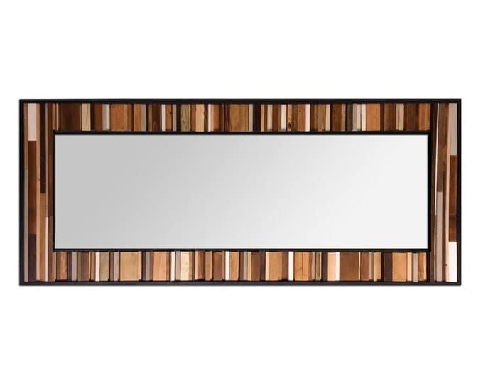 "Reclaimed Wood Leaner Mirror - Floor Mirror - ""Reclaimed Reflection""- 32x78"" - Modern Wood Wall Art - Abstract Wood Art - Reclaimed Mirror"