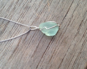 Seaglass Turquoise Wrapped in Sterling Wire and Sterling Necklace