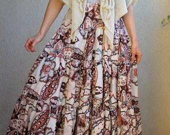 Gypsy Maxi skirt - Floral Print - Long tiered skirt - Boho skirt - Bohemian skirt -  Summer skirt - Full Large Skirt - Cotton skirt - Tall